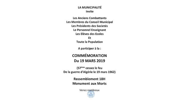 COMMEMORATION DU 19 MARS 2019